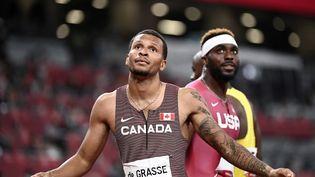 Le CanadienAndre de Grasse a réalisé le meilleur temps sur le 200m lors des demi-finales, mardi 3 août, à Tokyo. (JEWEL SAMAD / AFP)