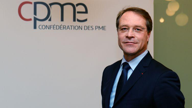 François Asselin, président de la Confédération des petites et moyennes entreprises (CPME),le 5 janvier 2017 à Puteaux (Hauts-de-Seine) (ERIC PIERMONT / AFP)