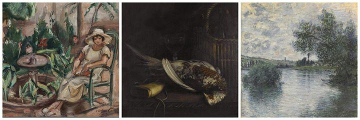 De gauche à doite (détails) : Claude Monet,Nature-morte au faisan, vers 1861 /Claude Monet, Nature-morte au faisan, vers 1861 /Claude Monet,La Seine à Vétheuil, 1879  (RMM Rouen Normandie / Musée des Beaux-Arts)