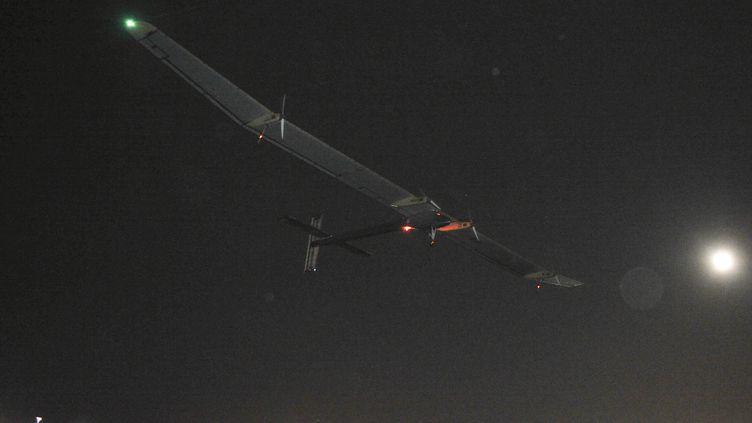 Solar Impulse à son décollage deMadrid (Espagne), le 5 juin 2012. (DOMINIQUE FAGET / AFP)