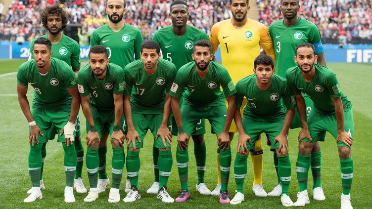L'équipe nationale d'Arabie saoudite avant sa rencontre inaugurale contre la Russie, jeudi 14 juin à Moscou (Russie). (ELMAR KREMSER / SVEN SIMON / AFP)