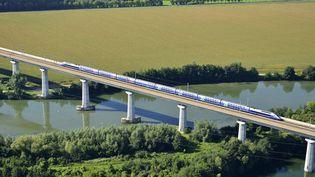 Un TGV passe sur le viaduc de Verberie, dans l'Oise. (LIONEL LOURDEL / PHOTONONSTOP / AFP)