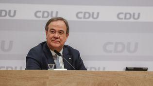 Armin Laschet lors du congrès virtuel du parti conservateur CDU, à Berlin (Allemagne), le 16 janvier 2021. (ODD ANDERSEN / POOL / AFP)