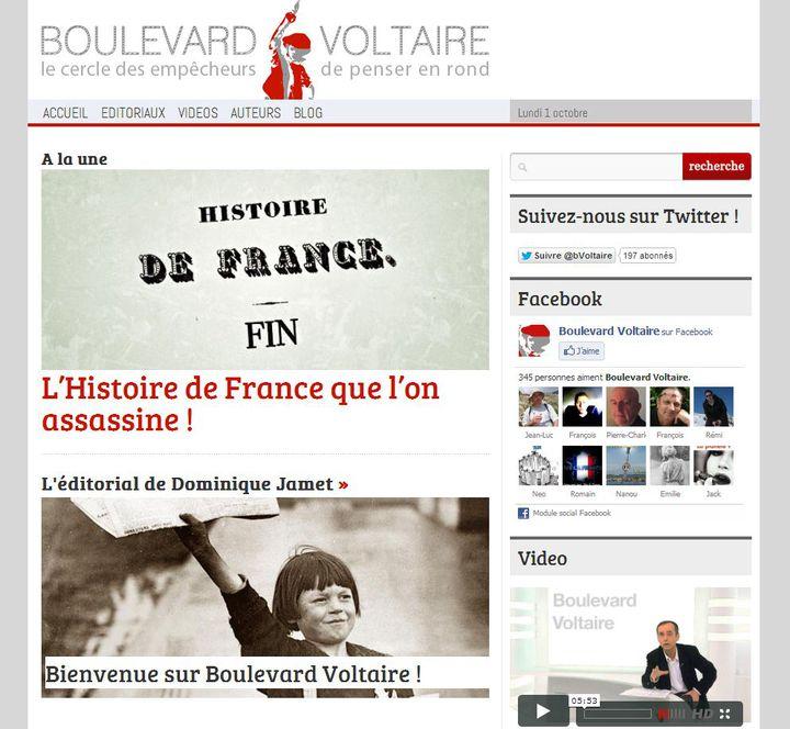 Le site d'information et de débats Boulevard Voltaire a été lancé le 1er octobre 2012 par les journalistes Robert Ménard et Dominique Jamet. (WWW.BVOLTAIRE.FR)