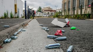 Des cartouches de gaz hilarant vides dans une rue de Bordeaux, en juillet 2020. (BONNAUD GUILLAUME / MAXPPP)