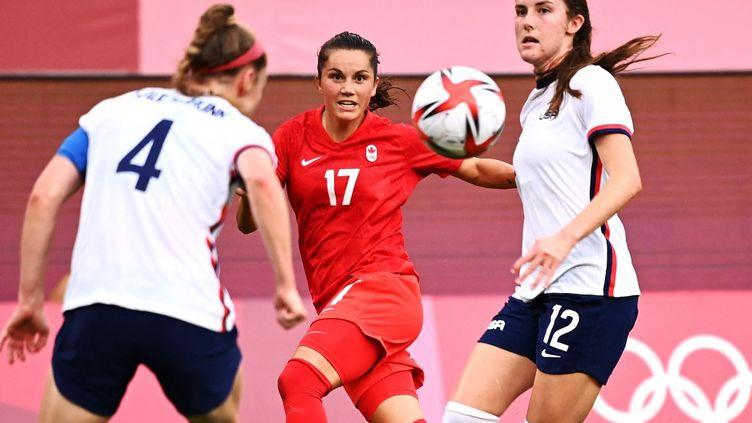 Les Etats-Unis se sont inclinés face au Canada, lundi 2 août 2021, en demi-finale des Jeux olympiques de Tokyo. (KAZUHIRO NOGI / AFP)