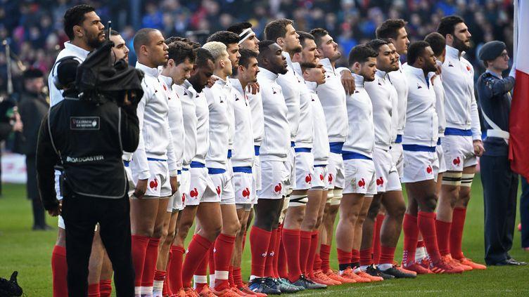 Le XV de France lors de son match des VI Nations 2020 contre l'Ecosse, au Murrayfield Stadium d'Edimbourg, le 8 mars dernier. (ANNE-CHRISTINE POUJOULAT / AFP)