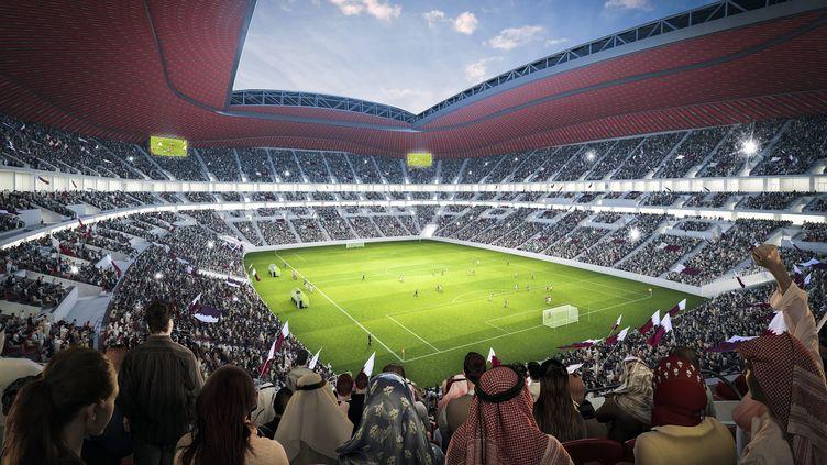 Une représentation, vu des tribunes, du futur stade d'Al-Khor (Qatar), qui doit êtreconstruit à l'occasion de la Coupe du monde de football 2022. ( AFP / JEROEN JUMELET)