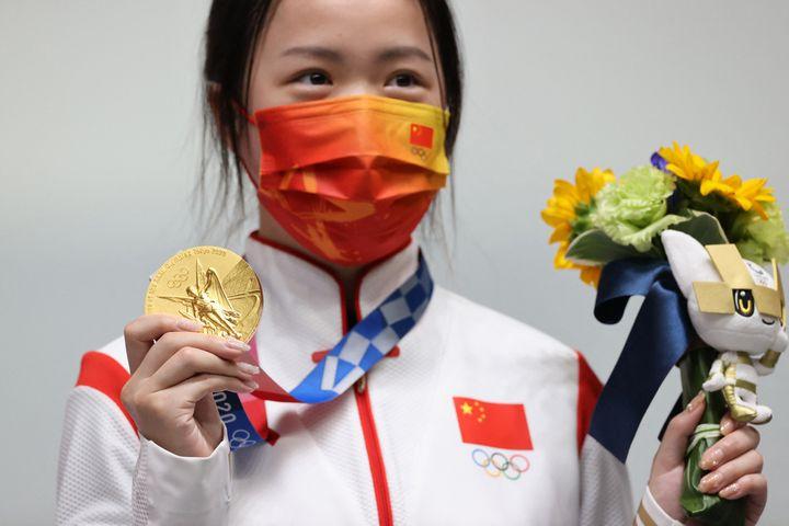 La Chinoise Qian Yang, première championne olympique des JO de Tokyo, le samedi 24 juillet (TAKUYA YOSHINO / YOMIURI)