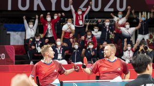 Stéphane Molliens et Fabien Lamirault ont remporté l'or, à Tokyo, vendredi 3 septembre. (G.MIRAND / CPSF)