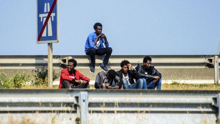 Des migrants sur le bord de la route, près de Calais (Pas-de-Calais), le 21 juin 2017. (DENIS CHARLET / AFP)