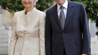 Le 13 juin 2008, FrançoisFillon et Penelope Fillon participent à un dînerà l'Elysée (MAXPPP)