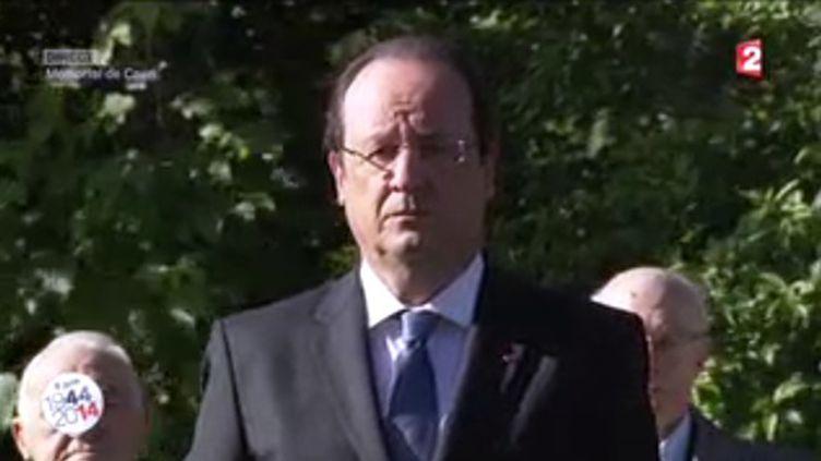 Capture d'écran de François Hollande à Caen (Calvados), le 6 juin 2014. ( FRANCE 2)