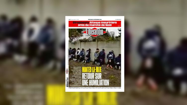"""La """"une"""" de Libération du 12 décembre 2018, au lendemain de la fusillade à Strasbourg. (LIBERATION)"""