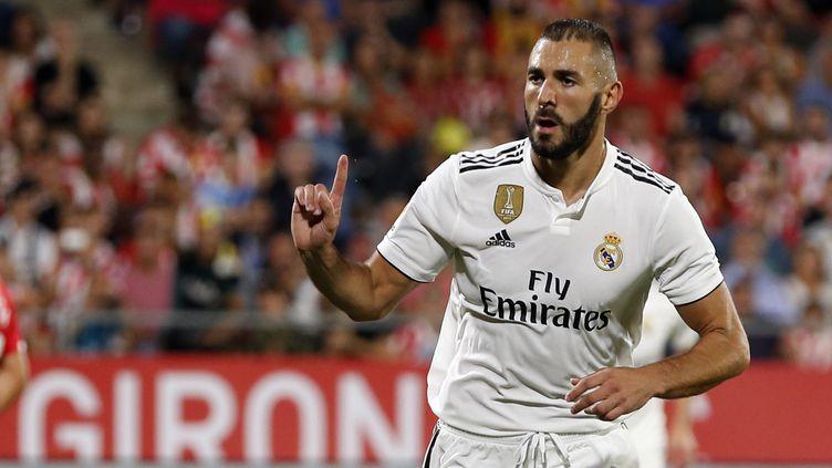 Karim Benzema a marqué un doublé pour le Real (PAU BARRENA CAPILLA / AFP)