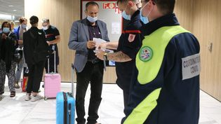 Les sapeurs-pompiers français contrôlent les pass sanitaires des passagers à l'euroairport de Bâle Mulhouse le 2 août 2021. (JEAN-FRANCOIS FREY / MAXPPP)