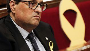 Le président catalan Quim Torra au Parlement régional, à Barcelone (Espagne), le 12 mai 2018. (PAU BARRENA / AFP)