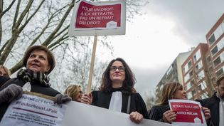 Une manifestation d'avocats contre la réforme des retraites à Toulouse le 17 décembre 2019. (FREDERIC SCHEIBER / HANS LUCAS / AFP)