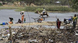 Scène de la vie quotidienne à N'Gouboua, une localité du Nigeria située sur le lac Tchad. La région est désormais devenue le fief de Boko Haram et de ses branches djihadistes. (PHILIPPE DESMAZES / AFP)