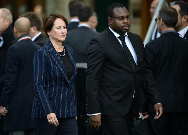 Ségolène Royal aux obsèques de Jacques Chirac, en compagnie de JacquesBarberye, le 30 septembre 2019. (MARTIN BUREAU / AFP)