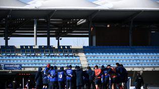 Les joueurs du XV de France à Marcoussis dans l'Essonne, le 11 février 2021. (FRANCK FIFE / AFP)