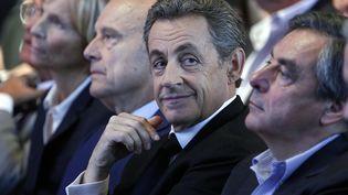 De gauche à droite : Alain Juppé, Nicolas Sarkozy et François Fillon. (CHESNOT / GETTY IMAGES EUROPE)