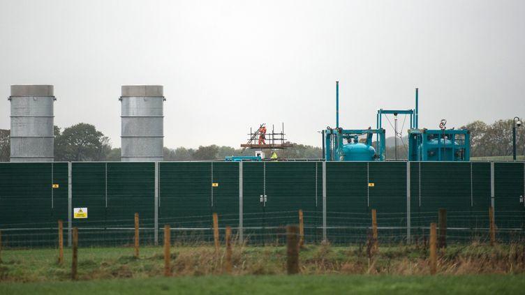 Le site où sont menées les expérimentations sur la fracturation hydraulique, à Blackpool, dans le nord-ouest de l'Angleterre (Royaume-Uni), le 13 octobre 2018. (OLI SCARFF / AFP)