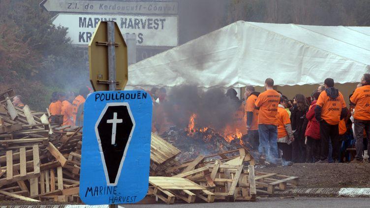 5 novembre 2013 -Poullaouen (Finistère) salariés deMarine Harvest brulent des pneus devant leur usine (DAMIEN MEYER / AFP)