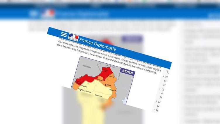 Capture d'écran du site de recommendations aux voyageurs du Quai d'Orsay. (Quai d'Orsay)