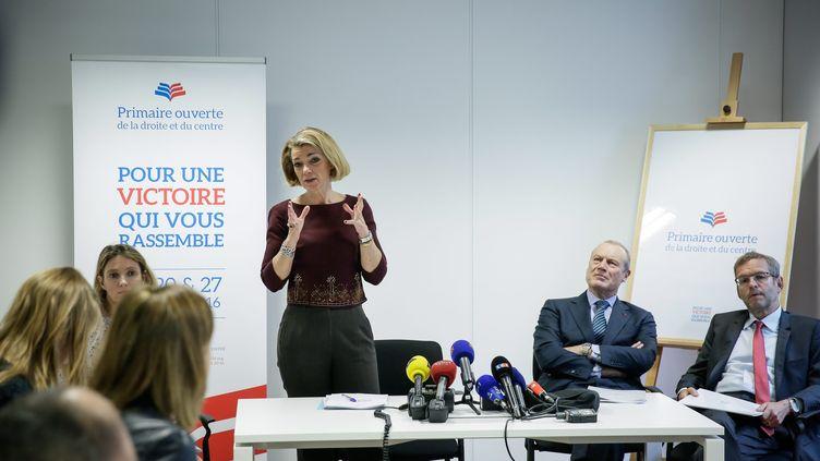 Anne Levade, la présidente de la Haute autorité pour la primaire à droite, présente les règles du scrutin, le 22 avril 2016, à Paris. (MAXPPP)