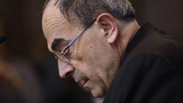 Le cardinal Philippe Barbarin à la Maison du diocèse, à Lyon, le 7 mars 2018. (ALEX MARTIN / EPA)