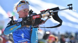 Marie Dorin-Habert àHochfilzen en Autriche le 10 février 2017. (MAXPPP)