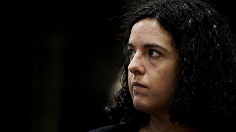La députée européenne de La France Insoumise (LFI) Manon Aubry, le 28 janvier 2020 au Parlement européen à Bruxelles. (KENZO TRIBOUILLARD / AFP)