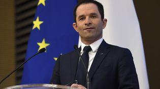 Benoît Hamon veutcréer une Assemblée démocratique de la zone euro. Ici, le 9 mars 2017 à Paris. (ERIC FEFERBERG / AFP)