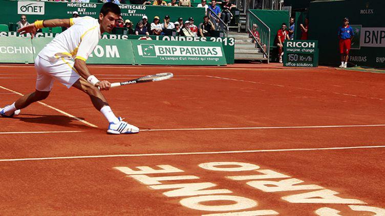 Le Serbe Novak Djokovic sur la terre-battue de Monte Carlo