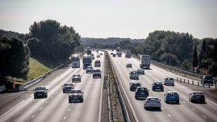 Sur l'autoroute A 9 en direction de l'Espagne au niveau de Fabregues (Hérault), le 17 février 2021. (BENJAMIN POLGE / HANS LUCAS / AFP)