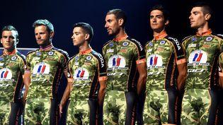 Présentation de l'équipe cycliste de l'armée de terre, en juin 2017. (MAXPPP)