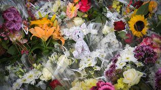 Des fleurs déposées, le 12 juin 2019, sur le lieu où deux enfants ont été fauchés par une voiture, à Lorient (Morbihan). (LOIC VENANCE / AFP)