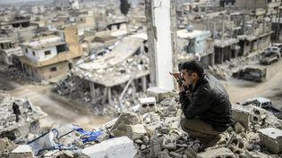 A Kobani, le 26 janvier 2015. (BULENT KILIC / AFP)