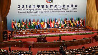 Le président chinois Xi Jinping donne un discours, lors de l'ouverture d'un vaste sommet Chine-Afrique à Pékin (Chine), le 3 septembre 2018. (MADOKA IKEGAMI / AFP)