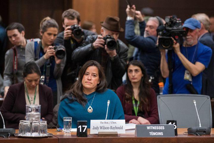L'ancienne ministre de la Justice Jody Wilson-Raybould lors d'une audition, le 27 février 2019 à Ottawa (Canada). (LARS HAGBERG / AFP)