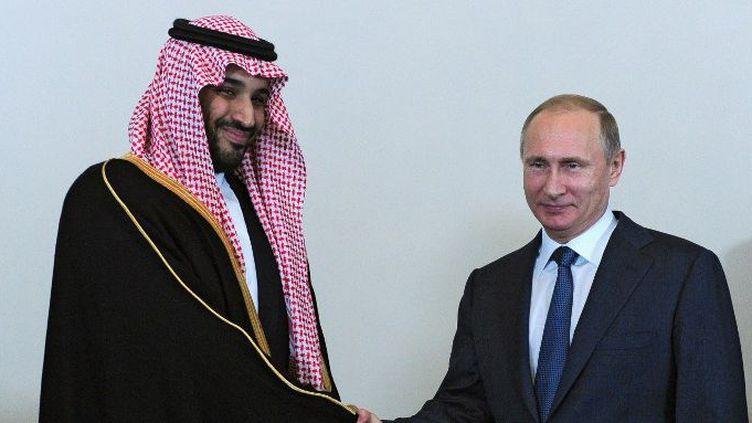 Vladimir Poutine et le prince Mohammad bin Salman Al Saud, ministre saoudien de la Défense à Saint-Pétersbourg, le 18 juin 2015. (Michael Klimentyev / RIA Novosti/AFP)