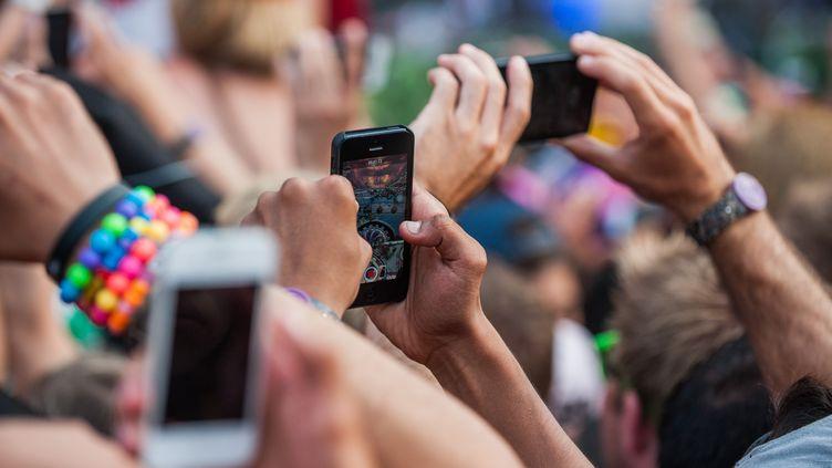 Des spectateurs du festival Tomorrowland prennent des photos, à Boom (Belgique), le 27 juillet 2014. (JONAS ROOSENS / BELGA MAG AFP)