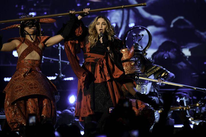 Madonna sur scène à l'AmericanAirlines Arena, Miami, Floride, le 23 Janvier 2016. (RON ELKMAN/USA TODAY NETWORK/SIP/SIPA / SIPA USA)