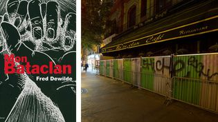"""A gauche, """"Mon Bataclan""""; BD de Fred Dewilde, un des rescapés de l'attaque du 13 novembre 2015 - A droite, la façade de la salle de concert  (A gauche, éditions Lemieux - A droite © photo Joël Saget / AFP)"""