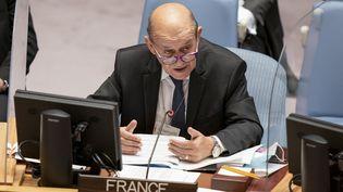Le ministre français des Affaires étrangères, Jean-Yves le Drian, le 23 septembre 2021, à New York (Etats-Unis). (JOHN MINCHILLO / POOL)