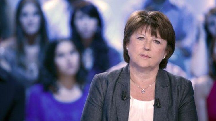 Martine Aubry, sur Canal+, le 30 août 2011. (AFP - Bertrand Langlois)