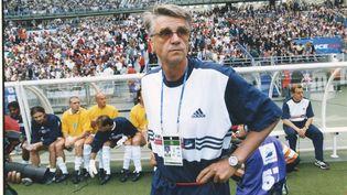 Aimé Jacquet lors du quart de finale de Coupe du monde entre la France et l'Italie, le 3 juillet 1998. (OLIVIER LEJEUNE / MAXPPP TEAMSHOOT)