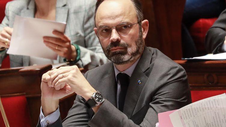 Le Premier ministre Edouard Philippe sur le banc du gouvernement à l'Assemblée nationale à Paris, le 25 février 2020. (LUDOVIC MARIN / AFP)
