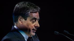 FrançoisFillon, samedi 4 mars 2017 lors d'un meeting à Aubervilliers (Seine-Saint-Denis). (MAXPPP)